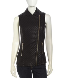 Love Token Quilted Faux Leather Zip Vest Black