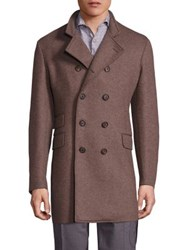 Eleventy Double Breasted Officer Coat Taupe Charcoal