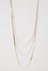Forever 21 Layered Bead Necklace Pink Gold