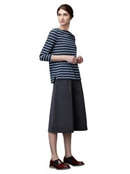 Toast Breton Stripe Long Sleeve T Shirt Navy Pale Blue Navy Pale Blue