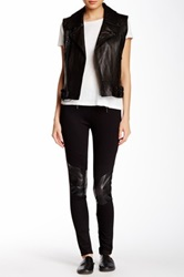 Milk26 Pleather Insert Zip Legging Black