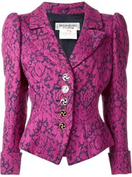 Yves Saint Laurent Vintage Fitted Jacquard Blazer Pink And Purple