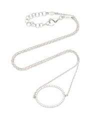 As29 La Collection Oval Diamond Single Chain Choker In White Gold Silver