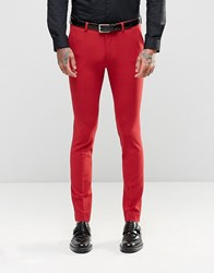 Asos Super Skinny Fit Suit Trousers In Red Red