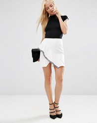 Asos Ruffle A Line Skirt With Fringe Detail Ivory White