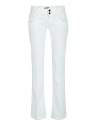 Morgan Classic Flared Jeans With Pocket White