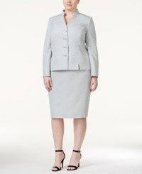 Le Suit Plus Size Printed Stand Collar Skirt Suit
