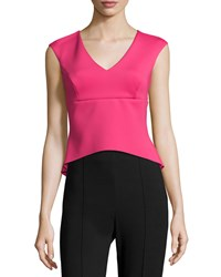 Kay Unger New York Sleeveless V Neck Peplum Top Lipstick Women's