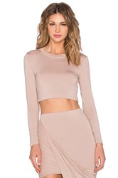 Blq Basiq X Revolve Exclusive Long Sleeve Crop Top Tan