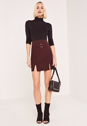 Missguided Burgundy Circular Ring Front Crepe Split Hem Mini Skirt