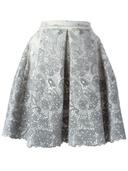 Ermanno Scervino Pleated Lace Skirt Grey