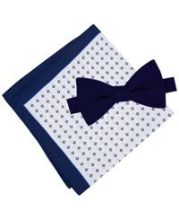 Tommy Hilfiger Men's Solid Pre Tied Bow Tie And Micro Neat Pocket Square Set Navy