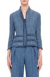 Women's Akris Punto Fringe Trim Linen Jacket Bleached Denim