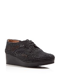 Robert Clergerie Vicole Raffia Platform Oxfords Black