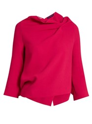Roland Mouret Oscar Double Faced Wool Long Sleeved Top Pink