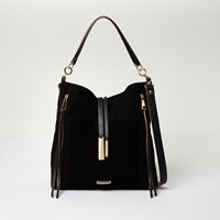 River Island Womens Black Zip Front Slouch Handbag