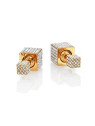 Vita Fede Double Cubo Crystal Two Sided Earrings Yellow Gold