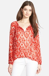 Smocked Peasant Blouse Red Ivory Leaves