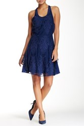 Madison Marcus Strappy Back Lace Dress Blue