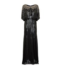Jenny Packham Sequin Cape Gown Female Black