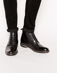 Ikon London Elm Leather Lace Up Military Boots Black
