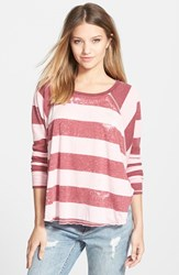 Junior Women's Billabong 'See The Light' Long Sleeve Thermal Tee Blush
