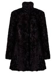 John Lewis Astrakan Faux Fur Swing Coat Black