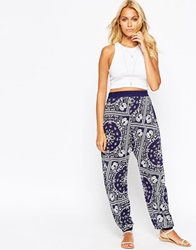 Asos Harem Trousers In Bandana Print Navy