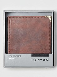 Topman Burgundy Leather Wallet Red