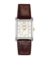 Citizen Eco Drive Stainless Steel And Embossed Leather Rectangular Watch Brown