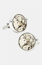 Ravi Ratan Men's Penny Black 40 'Steampunk Watch Movement' Cuff Links Silver