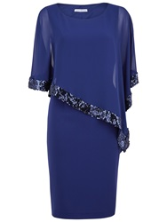 Gina Bacconi Crepe Dress And Sequin Chiffon Cape Navy