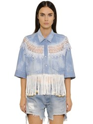 Forte Couture New Catherine Fringed Denim Shirt
