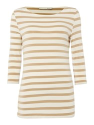 Oui Stripe T Shirt With 3 4 Sleeves White