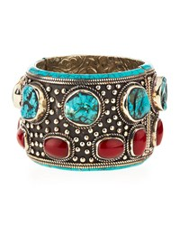Turquoise And Coral Cuff Bracelet Turquoise Coral Devon Leigh