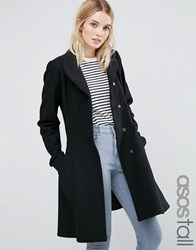 Asos Tall Skater Coat In Wool Blend With Funnel Neck Black