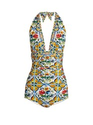 Dolce And Gabbana Majolica Print Ruched Halterneck Swimsuit Yellow Multi