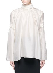Ms Min Beaded Ribbon Trim Silk Blouse White
