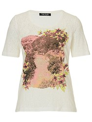Betty Barclay Floral Embellished Top Cream Pink
