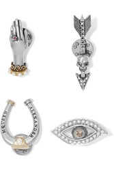 Alexander Mcqueen Set Of Four Gold And Silver Plated Multi Stone Brooches