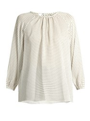 Tibi Star Print Silk Top White Multi