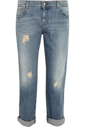 Stella Mccartney Tomboy Distressed Low Rise Boyfriend Jeans Blue