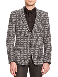 Versace Diamond Print Wool Sportcoat Black White