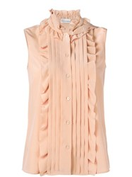 Red Valentino Ruffled Sleeveless Blouse Nude And Neutrals