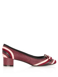 Salvatore Ferragamo Fosca Snakeskin Effect Leather Pumps Pink Multi