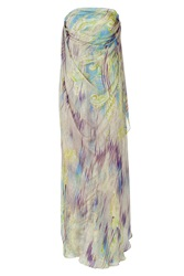 Matthew Williamson Mauve And Peridot Printed Silk Gown