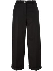 Love Moschino Wide Leg Cropped Trousers Black
