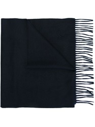 Canali Embroidered Logo Scarf Blue