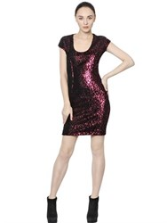 Just Cavalli Flocked Flower And Sequined Jersey Dress