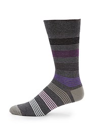 Saks Fifth Avenue Striped Socks Plum
